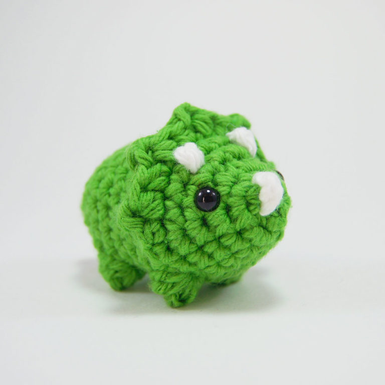 crocheted triceratops