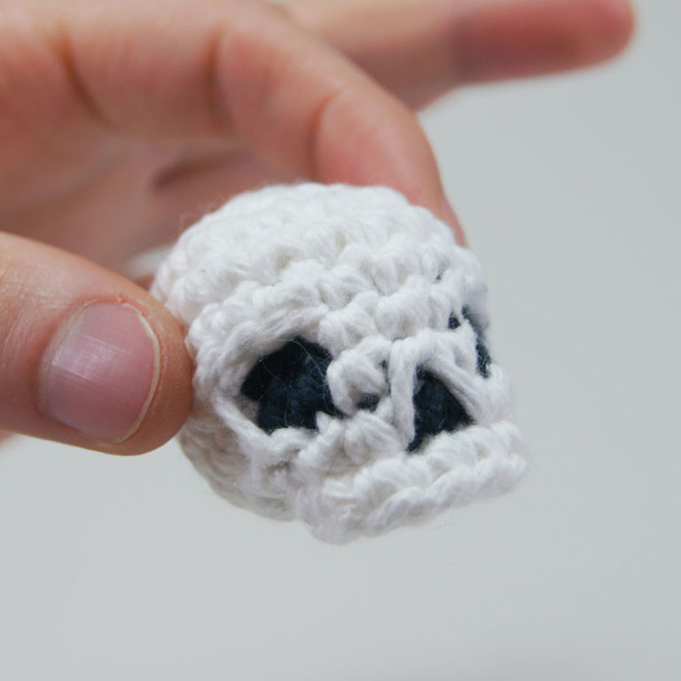 crocheted skull